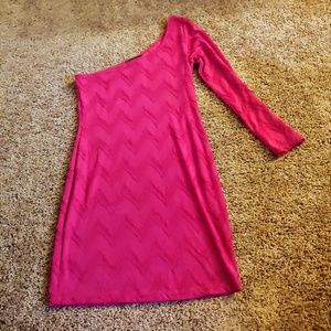 Body central pink one shoulder bodycon dress